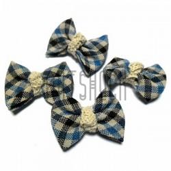 Набор синих декоративных тканевых бантиков (шотландка) с макраме, 4 см., 4 штуки, REGINA