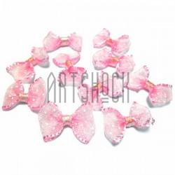 Набор розовых декоративных бантиков (горошек) из органзы, 2.5 см., 10 штук, REGINA