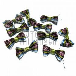 Набор декоративных тканевых бантиков (шотландка), 2.5 см., 10 штук, REGINA