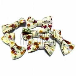 Набор белых декоративных тканевых бантиков (цветы), 3.5 см., 6 штук, REGINA