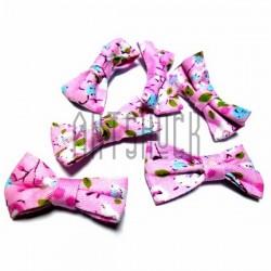 Набор розовых декоративных тканевых бантиков (цветы), 3.5 см., 6 штук, REGINA