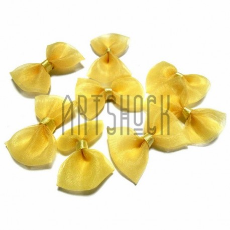 Набор жёлтых декоративных бантиков из органзы, 3.5 см., 8 штук, REGINA