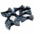 Набор декоративных бантиков тканевых, бело - синяя полоска, 3.5 см., 8 штук, REGINA