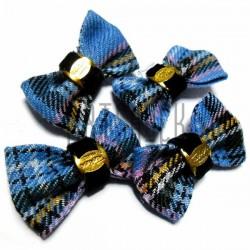 """Набор декоративных бантиков тканевых, голубая шотландка, """"Fashion"""", 3.7 см., 4 штуки, REGINA"""