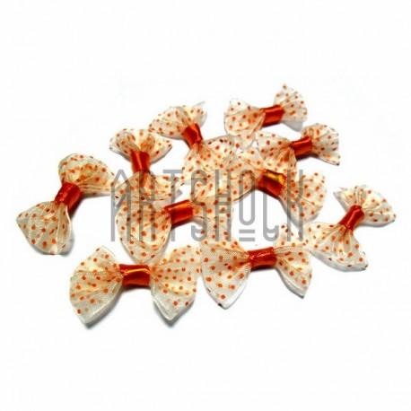 Набор жёлтых декоративных бантиков (оранжевый горошек) из органзы, 3.5 см., 10 штук, REGINA