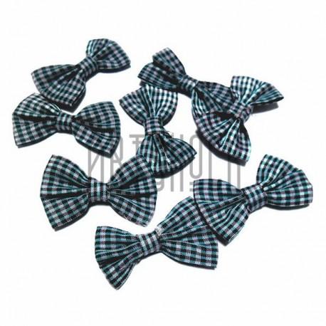 Набор декоративных бантиков тканевых, зелёно - чёрная клетка, 3.8 см., 8 штук, REGINA