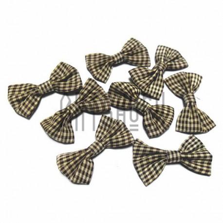 Набор декоративных бантиков тканевых, жёлто - коричневая клетка, 3.8 см., 8 штук, REGINA
