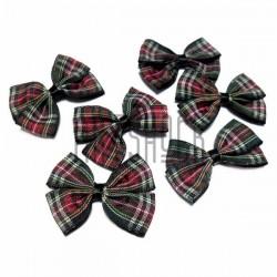 Набор декоративных бантиков двойных тканевых, зелёно - красная шотландка, 4 см., 6 штук, REGINA