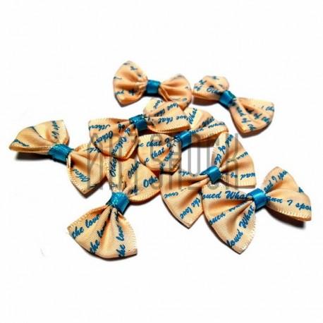 Набор кремовых декоративных бантиков тканевых, бирюзовая надпись, 3.8 см., 8 штук, REGINA