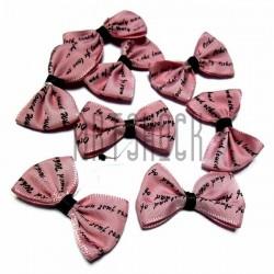 Набор розовых декоративных бантиков тканевых, коричневая надпись, 3.8 см., 8 штук, REGINA