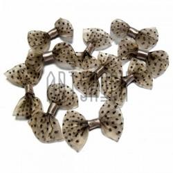 Набор бежевых декоративных бантиков (коричневый горошек) из органзы, 3.5 см., 10 штук, REGINA