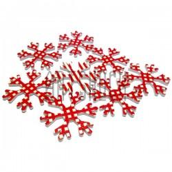 """Набор красно - белых деревянных декоративных накладок """"Снежинка"""", Ø37 мм., 8 штук, REGINA"""