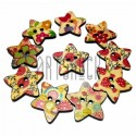 Набор деревянных декоративных звезд - пуговиц с рисунком, Ø25 мм., 10 штук, REGINA