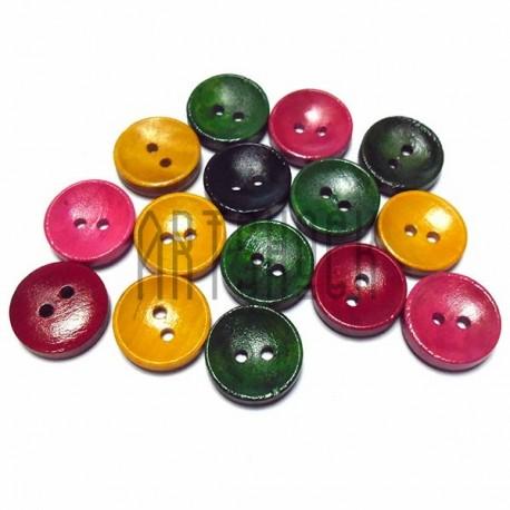 Набор деревянных декоративных пуговиц цветных, Ø1.5 см., 15 штук, REGINA