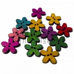 """Набор деревянных декоративных пуговиц цветных """"Цветок"""", Ø2 см., 12 штук, REGINA"""