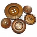 Набор деревянных декоративных пуговиц с рисунком, 3 - 5.8 см., 5 штук, REGINA