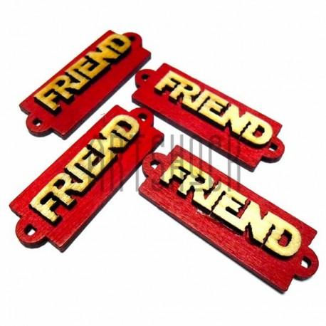 """Набор деревянных декоративных табличек с надписью """"Friend"""", 4 штуки, REGINA"""