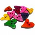 """Набор цветных деревянных декоративных пуговиц """"Сердечко"""", 1.6 - 2 см., 12 штук, REGINA"""
