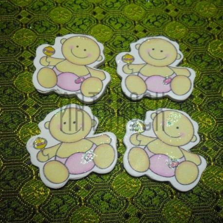 """Набор цветных деревянных декоративных табличек  """"Baby"""", 2.5 - 6 см., 4 штуки, REGINA"""