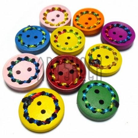 Набор цветных деревянных декоративных пуговиц, Ø2 см., 10 штук, REGINA