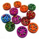 Набор цветных деревянных декоративных пуговиц, Ø1.5 см., 12 штук, REGINA