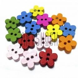 """Набор цветных деревянных декоративных пуговиц """"Цветочки"""", Ø1.1 см., 15 штук, REGINA"""