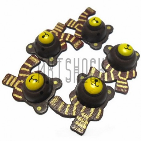 """Набор деревянных декоративных подвесок """"Мишки с шарфом"""", 2.5 x 4.2 см., 5 штук, REGINA"""