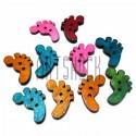 """Набор цветных деревянных декоративных пуговиц """"Следы"""", 1.8 x 2.3 см., 10 штук, REGINA"""