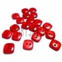 Набор пластиковых декоративных квадратных пуговиц, красные с перламутром, 0.9 x 0.9 см., 20 штук, REGINA