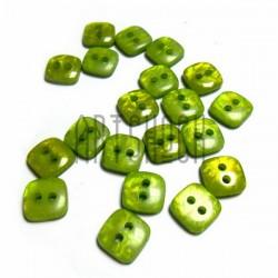 Набор пластиковых декоративных квадратных пуговиц, зеленые с перламутром, 0.9 x 0.9 см., 20 штук, REGINA