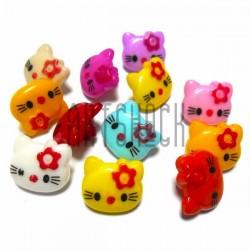 """Набор цветных пластиковых декоративных пуговиц """"Kitty"""", 1.4 x 1.3 см., 12 штук, REGINA"""