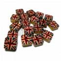 """Набор деревянных декоративных квадратных пуговиц """"GREAT BRITAIN"""", 0.8 x 0.8 x 0.3 см., 18 штук, REGINA"""