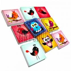 """Набор цветных деревянных декоративных квадратных пуговиц """"Птицы"""" деревянных, 2 x 2 x 0.3 см., 10 штук, REGINA"""