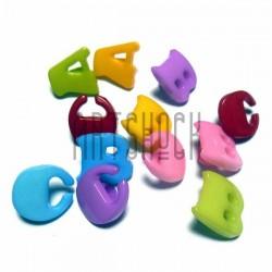 """Набор цветных пластиковых декоративных пуговиц """"A B C"""", 1.3 x 1.3 см., 12 штук, REGINA"""