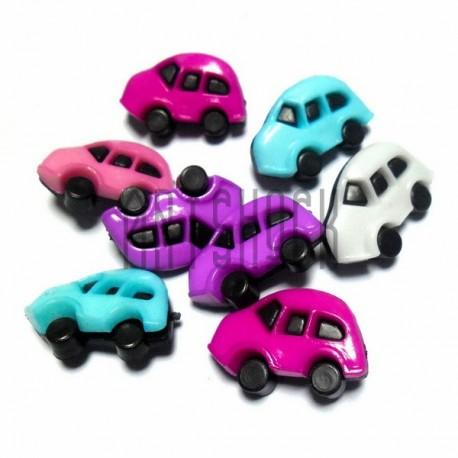 """Набор цветных пластиковых декоративных пуговиц """"Машинки"""", 2.5 x 1.3 см., 8 штук, REGINA"""