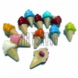 """Набор цветных пластиковых декоративных пуговиц """"Мороженое рожок"""", 2.2 x 1.3 см., 12 штук, REGINA"""