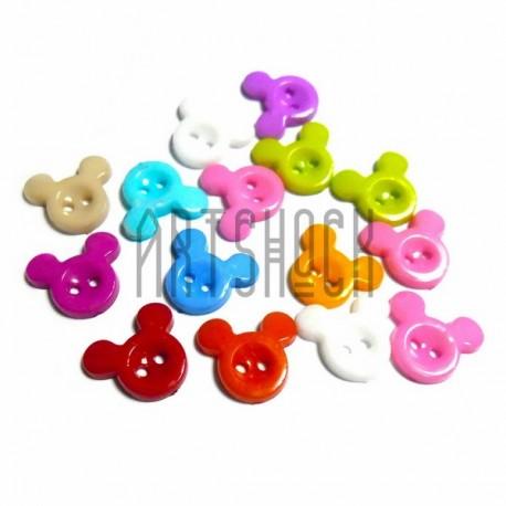 """Набор цветных пластиковых декоративных пуговиц """"Микки Маус"""", 1.4 x 1.3 см., 15 штук, REGINA"""
