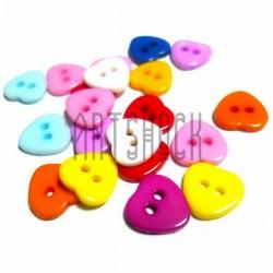"""Набор цветных пластиковых декоративных пуговиц """"Сердце цветное"""", 1 x 1 см., 20 штук, REGINA"""