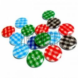 """Набор цветных пластиковых декоративных пуговиц """"Шотландка"""", Ø1.3 см., 15 штук, REGINA"""