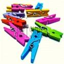 Набор цветных деревянных декоративных прищепок, 2.5 см., 12 штук, REGINA