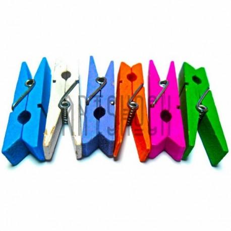 Набор цветных деревянных декоративных прищепок, 4.5 см., 6 штук, REGINA