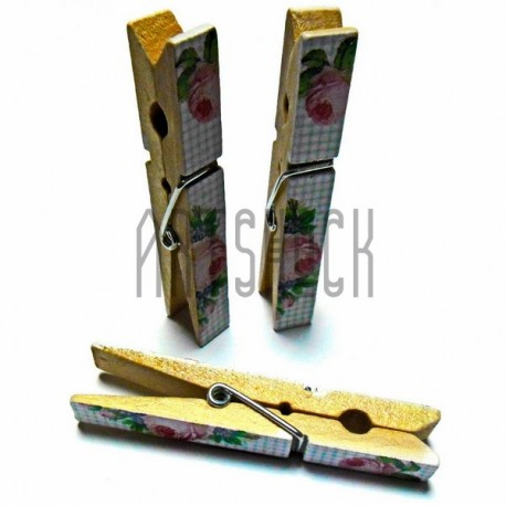 Набор деревянных декоративных прищепок с декупажем, 1 x 7.3 см., 3 штуки, REGINA