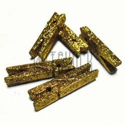Набор деревянных декоративных прищепок с золотым глиттером, 0.7 x 4.5 см., 5 штук, REGINA