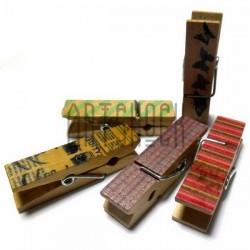 Набор деревянных декоративных прищепок с декупажем, 1.1 x 4.5 см., 5 штук, REGINA