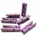 Набор деревянных декоративных прищепок с декупажем, 0.7 x 3.5 см., 6 штук, REGINA