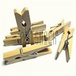 Набор неокрашенных деревянных декоративных прищепок, 4.5 см., 6 штук, REGINA