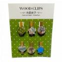 Набор деревянных декоративных прищепок с эпоксидными элементами, 3.5 x 0.7 см., 6 штук, Fun&Joy