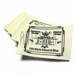 Набор бирок (нашивок, лейбл) тканевых с заворотом, пришивных, 5.3 x 3.6 см., 15 штук, REGINA