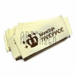 """Набор бирок (нашивок, лейбл) """"Hand Made""""тканевых с заворотом, пришивных, 5.2 x 2 см., 18 штук, REGINA"""
