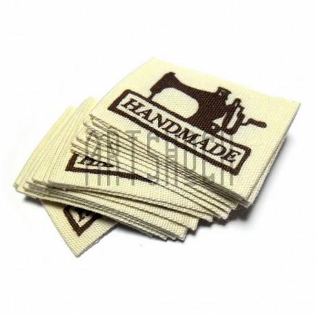 """Набор бирок (нашивок, лейбл) """"Hand Made""""тканевых с заворотом, пришивных, 3.7 x 2.5 см., 18 штук, REGINA"""